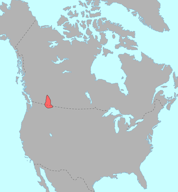 Map showing the location of the Kutenai region within North America